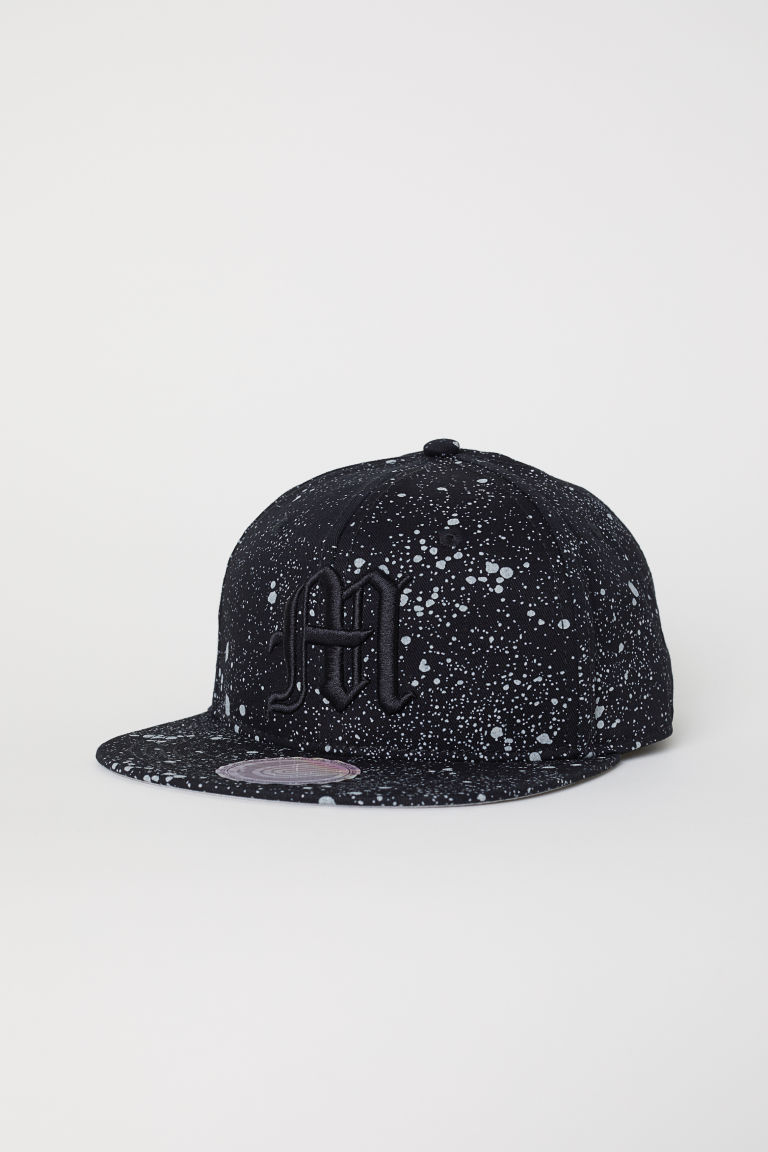 Cap with embroidery - Black/Grey speckled - Kids | H&M