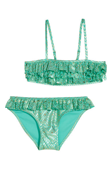 Frilled bikini - Light green/Patterned - Kids | H&M