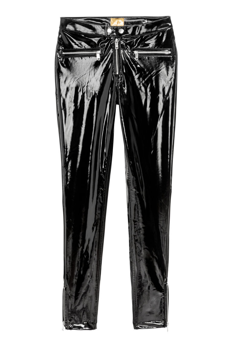 Slim patent trousers - Black - Ladies | H&M GB