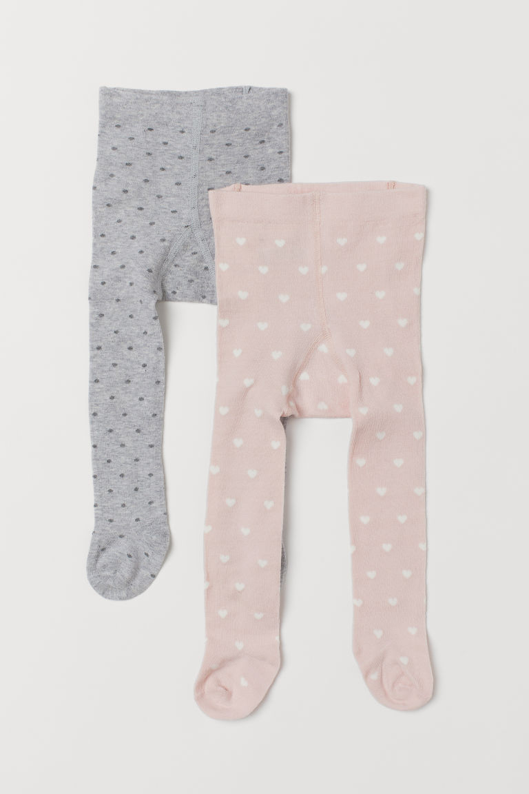 Collants, lot de 2 - Rose clair/gris chiné - ENFANT | H&M FR