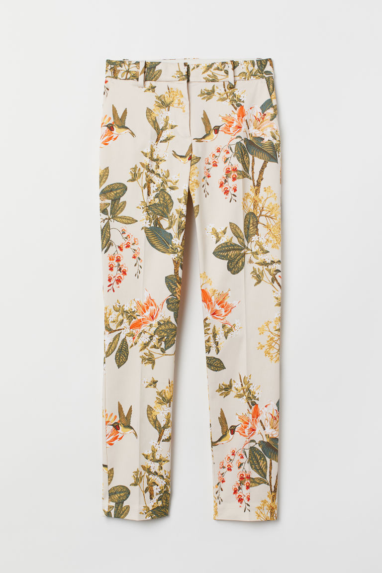 Cigarette trousers - Light beige/Floral - Ladies | H&M CN