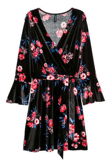 Wrap dress - Black/Floral - Ladies | H&M IE