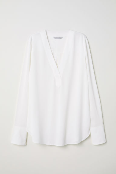 V-neck blouse - Cream - Ladies | H&M