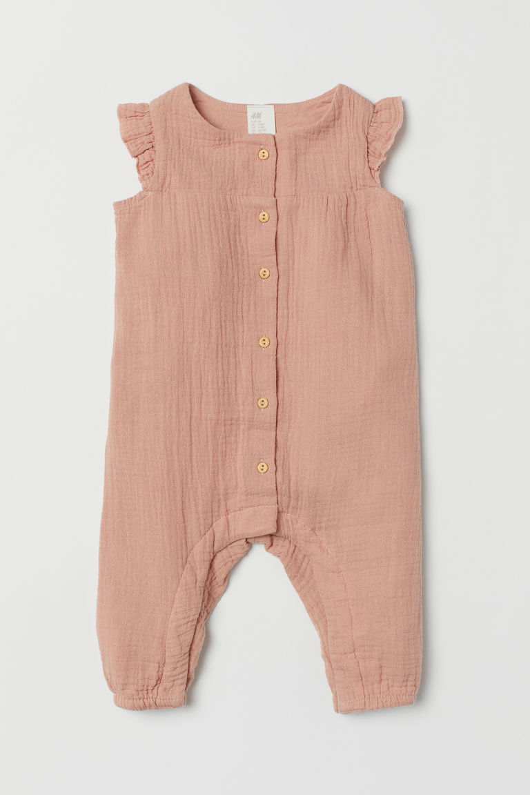 Cotton all-in-one suit - Powder pink - Kids | H&M GB