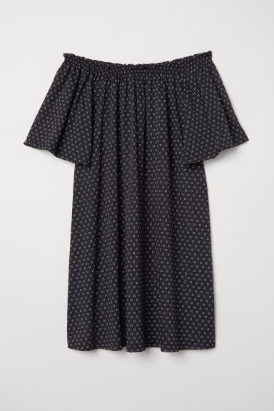 Off-the-shoulder dress - Dark blue/Patterned - Ladies | H&M