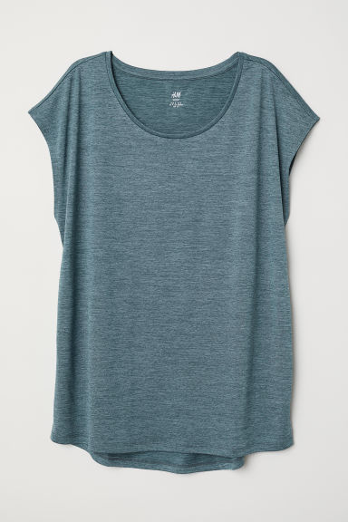 Sports top - Dark turquoise marl - Ladies | H&M