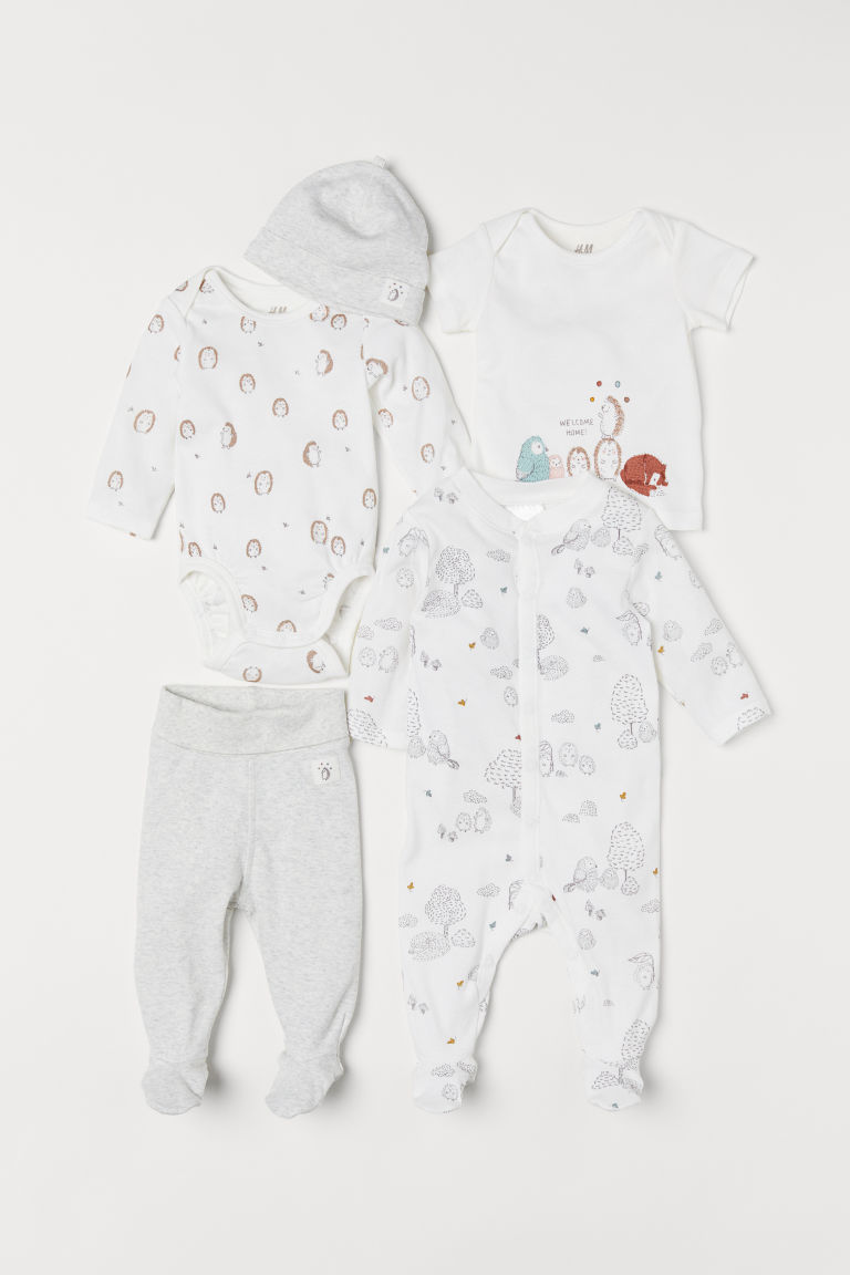 5-piece jersey set - White/Animals - Kids | H&M