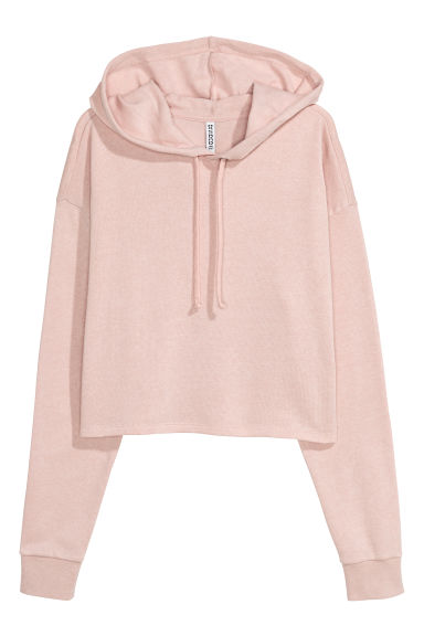 Cropped hooded top - Powder pink -  | H&M