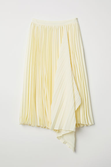 Pleated skirt - Light yellow -  | H&M