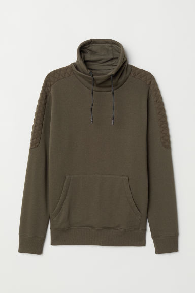 Funnel-collar sweatshirt - Dark khaki green -  | H&M