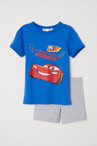 Jersey pyjamas - Light blue/Cars - Kids | H&M