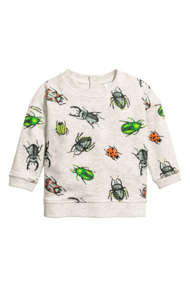 Printed sweatshirt - Light grey/Insects - Kids | H&M