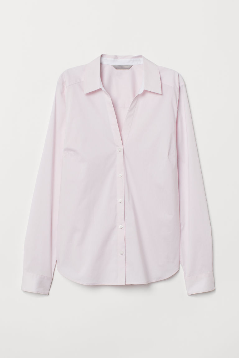 V-neck shirt - Light pink/Narrow-striped - Ladies | H&M CN