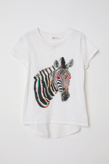Top with a motif - White/Zebra - Kids | H&M