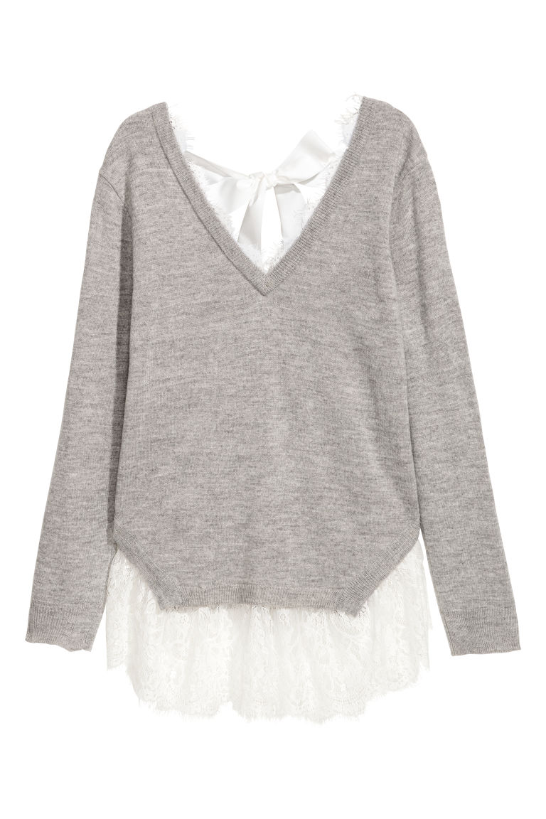 Jumper with lace trims - Light grey - Ladies | H&M GB