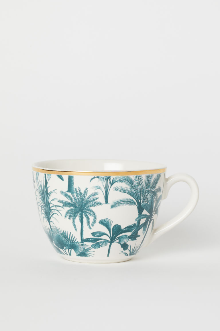 Printed Cup - Dark turquoise/palm trees - Home All | H&M CA