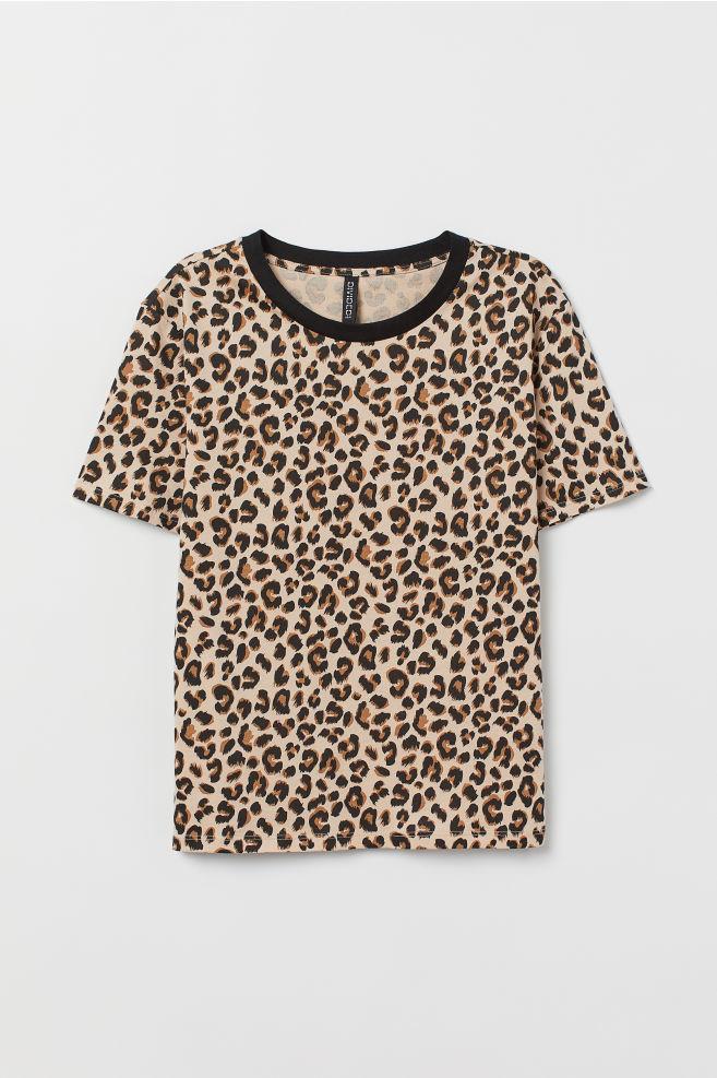 c07eff7a8e Cotton T-shirt - Light beige/leopard print - | H&M ...