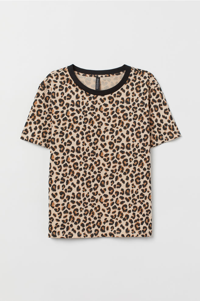 T-shirt i bomull - Ljusbeige/Leopardmönstrad - DAM | H&M SE 5