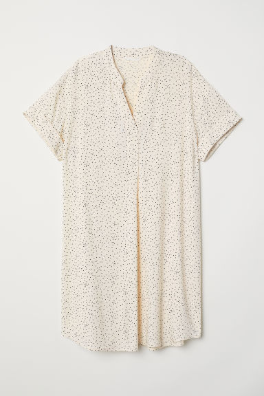 V-neck dress - Natural white/Spotted - Ladies | H&M
