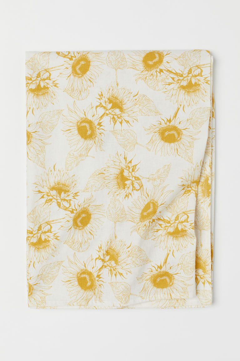 Linen-blend tablecloth - White/Sunflowers - Home All | H&M GB