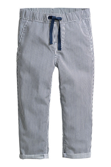 Pull-on cotton trousers - Dark blue/Striped - Kids | H&M