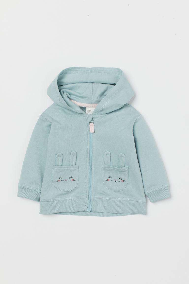 Hooded Jacket - Light turquoise/rabbits - Kids | H&M US