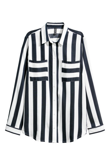 Viscose shirt - Navy blue/White striped - Ladies | H&M