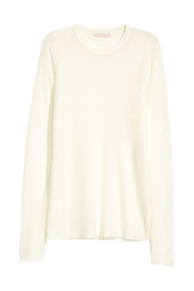 Merino wool jumper - Cream - Ladies | H&M CN
