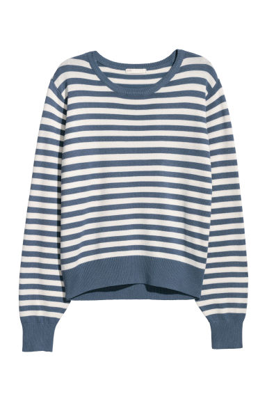 Fine-knit jumper - Pigeon blue/White striped - Ladies | H&M