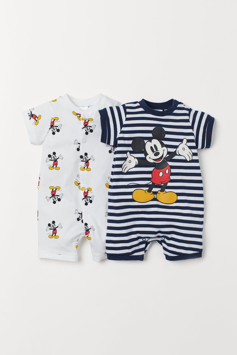 2-pack cotton pyjamas - White/Mickey Mouse - Kids | H&M IN