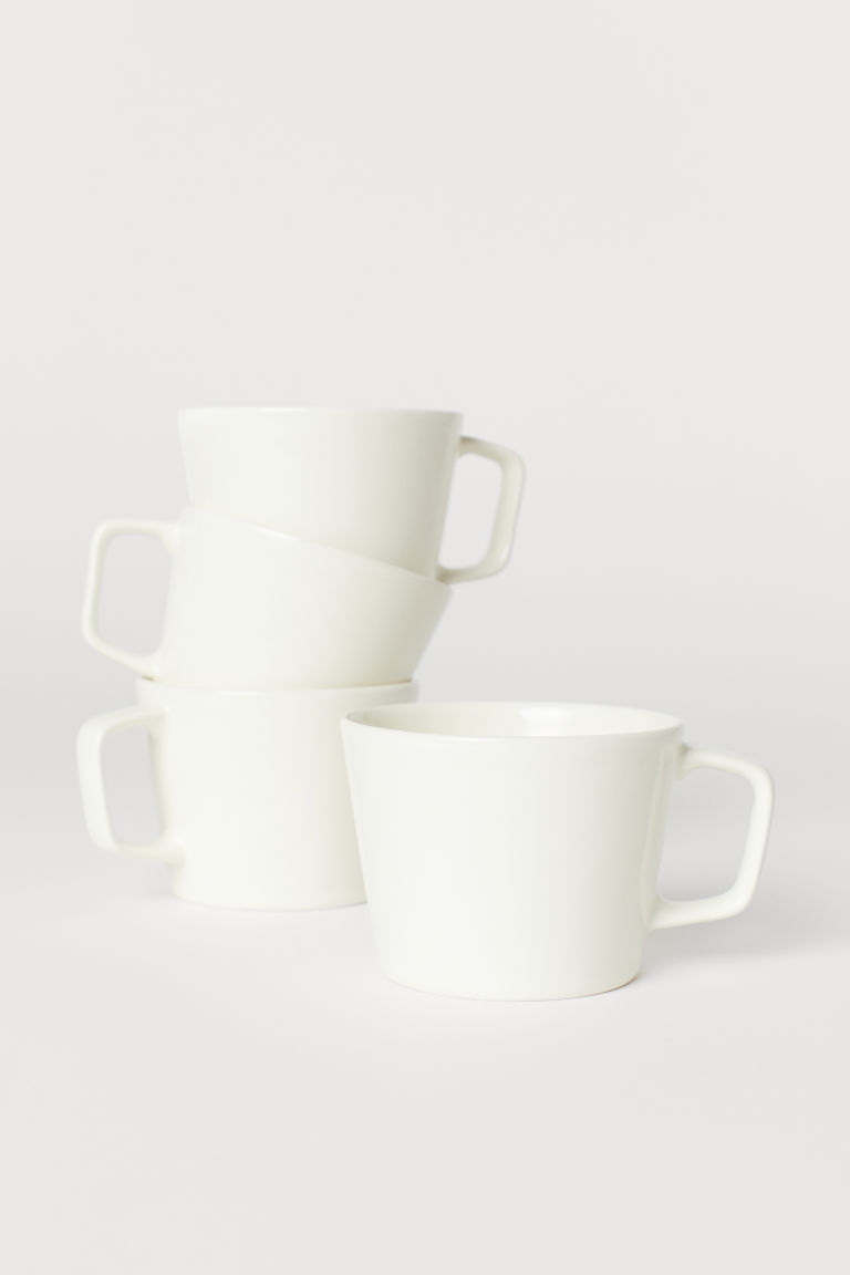 4-pack Ceramic Cups - White - Home All | H&M US
