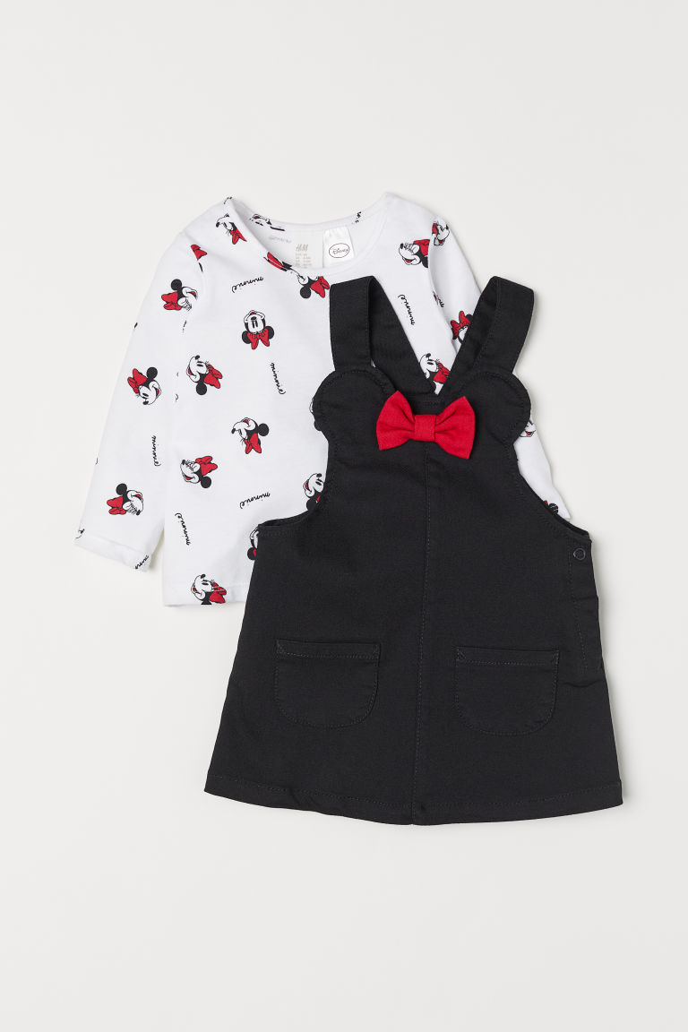 Dungaree dress and top - White/Black - Kids | H&M