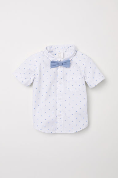 Shirt and bow tie - White/Blue spotted - Kids | H&M