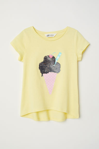 Jersey top with a motif - Yellow/Reversible sequins - Kids | H&M CN