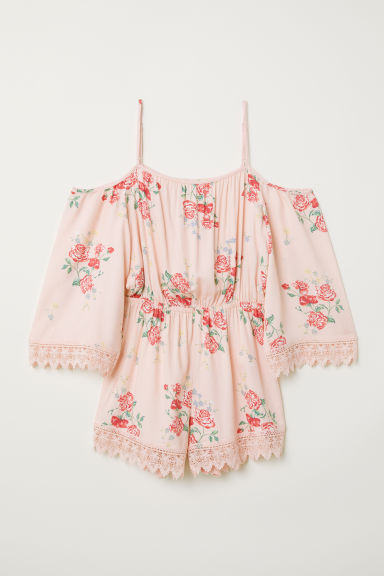 Cold shoulder playsuit - Light pink/Floral - Ladies | H&M