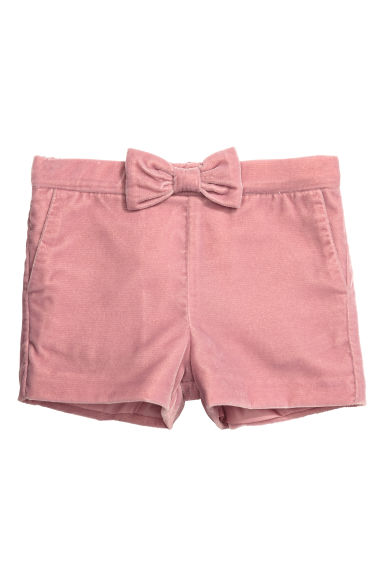 Glittery velvet shorts - Old rose - Kids | H&M