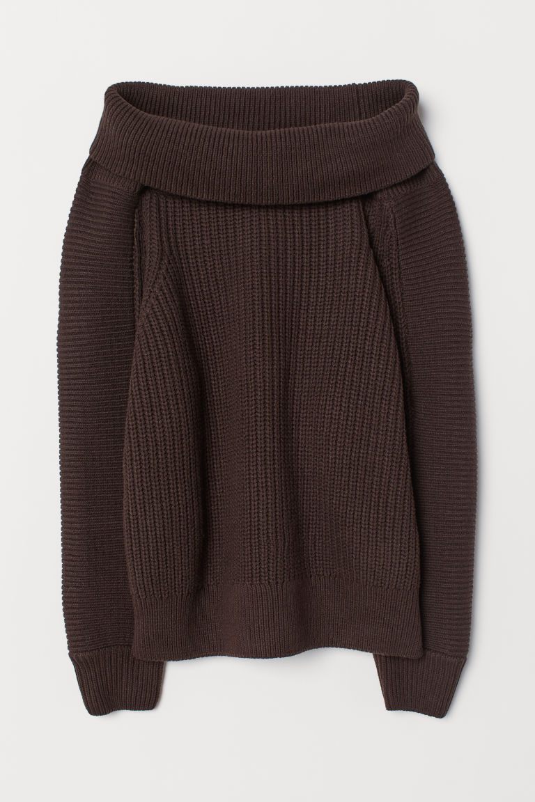 Off-the-shoulder jumper - Dark brown - Ladies | H&M CN