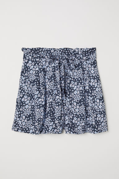 Shorts with a tie belt - Dark blue/Floral -  | H&M