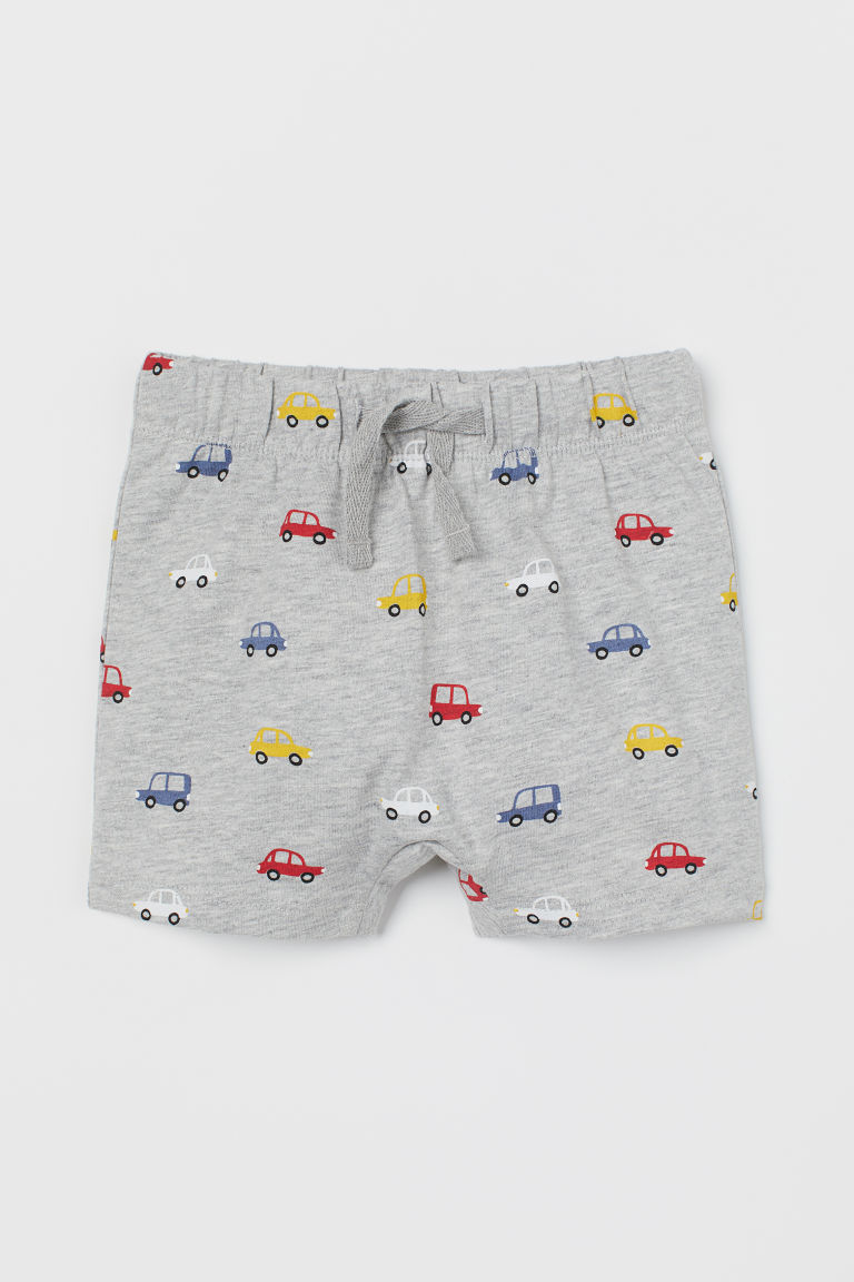Jersey shorts - Grey marl/Cars - Kids | H&M
