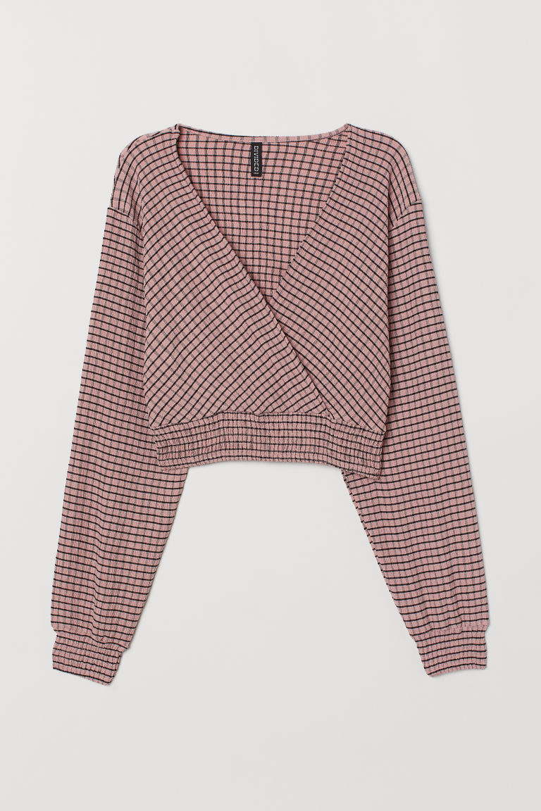 Top corto con smock - Rosa chiaro/quadri -  | H&M IT