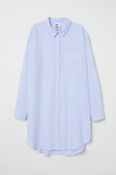Cotton nightshirt - Light blue/Striped - Ladies | H&M