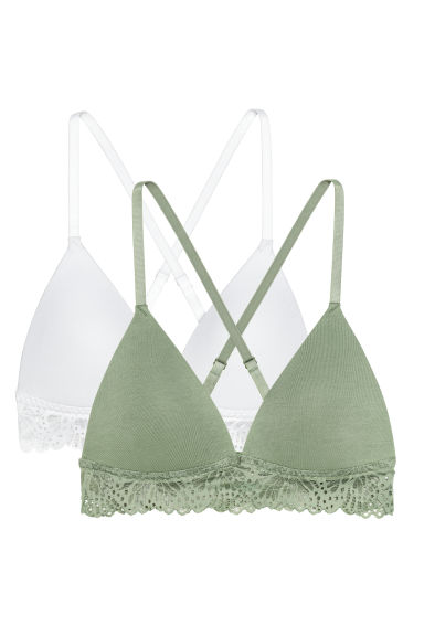 2-pack non-wired bras - Light khaki green/White - Ladies | H&M CN