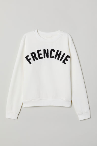 Sweat avec impression - Blanc/Frenchie - FEMME | H&M FR