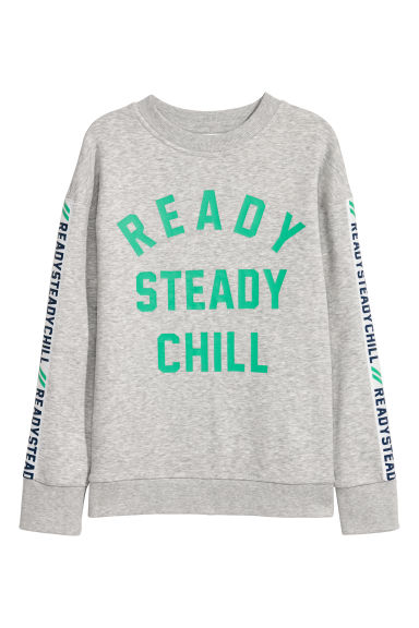 Printed sweatshirt - Grey marl - Kids | H&M CN