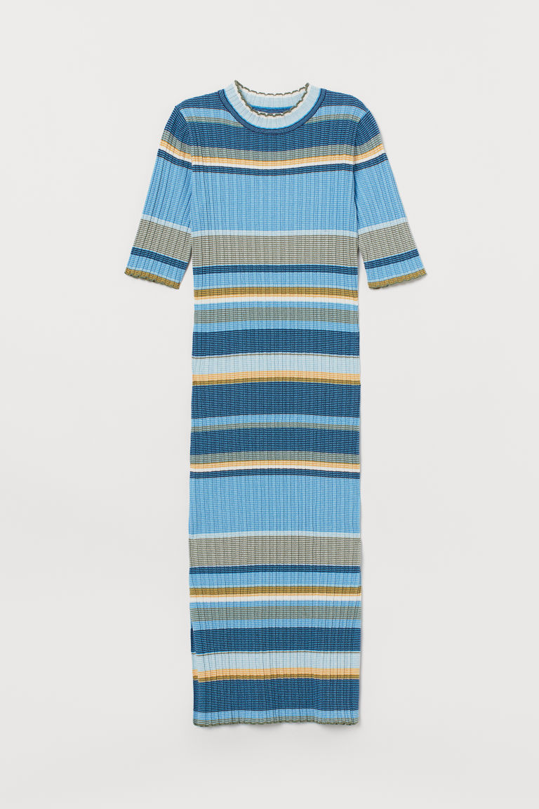 Ribbed dress - Blue/Striped - Ladies | H&M CN