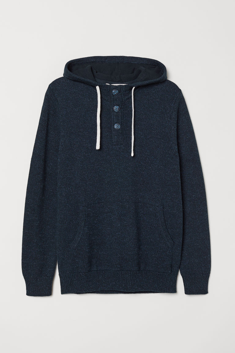 Hooded jumper with buttons - Dark blue marl - Men | H&M