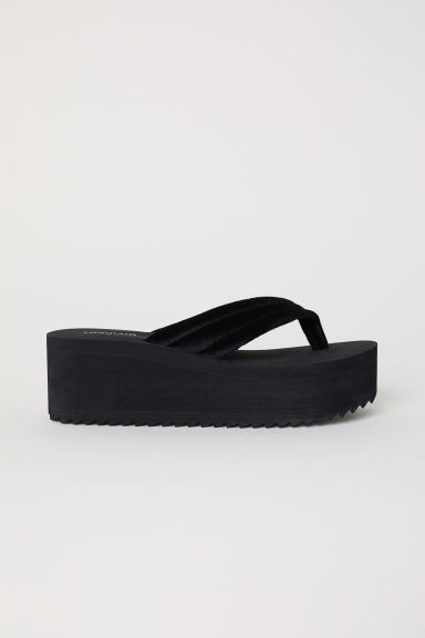 Platform flip-flops - Black - Ladies | H&M CN