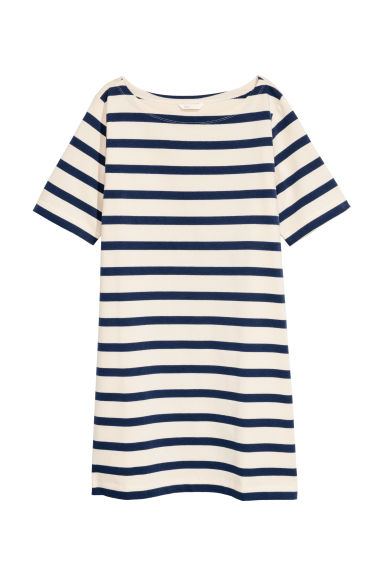 Jersey dress - White/Blue striped -  | H&M GB