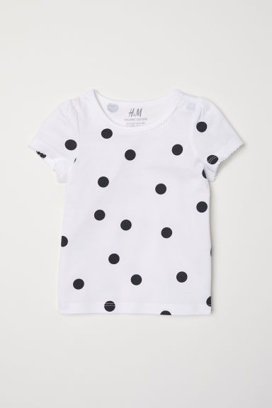Puff-sleeved jersey top - White/Spotted -  | H&M CN