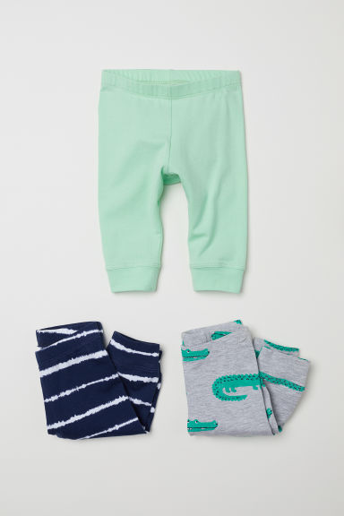 3-pack jersey leggings - Light grey/Crocodiles - Kids | H&M CN